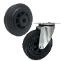Plastic-and-rubber wheels
