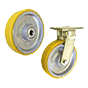Cast iron wheels with polyurethane for high loads